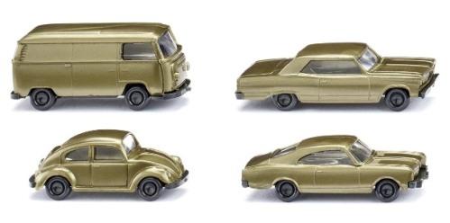 SET AUTOS: OPEL REKORD + VW KAFER + CHEVROLET MALIBU + VW BUS - GOLD 50º ANIV